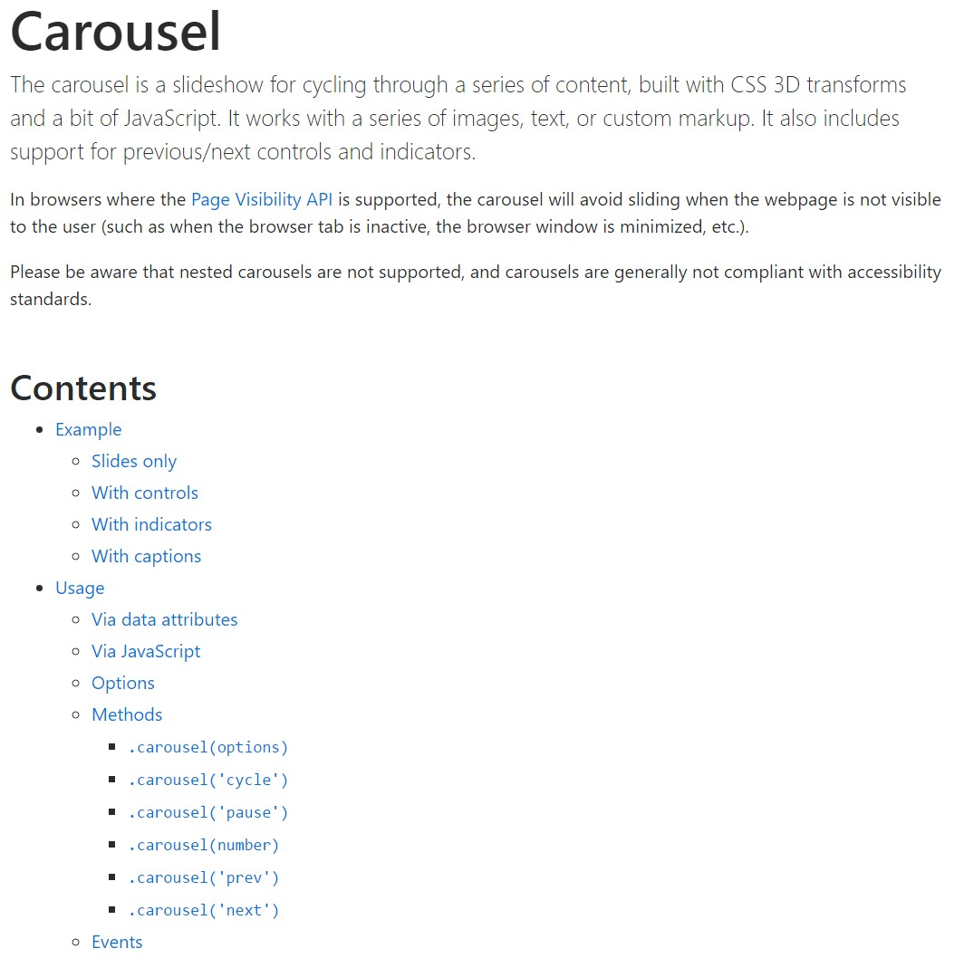 Bootstrap carousel  formal  information