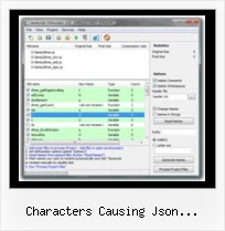 Compress Javascript Css characters causing json malfunction php
