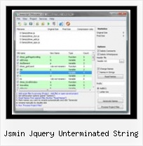 Javascript Compress Utility jsmin jquery unterminated string